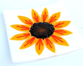 Fused Glass Sunflower Plate