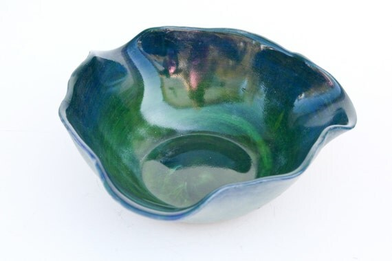 Green and Blue Fused Glass Pot Pour Sculpture