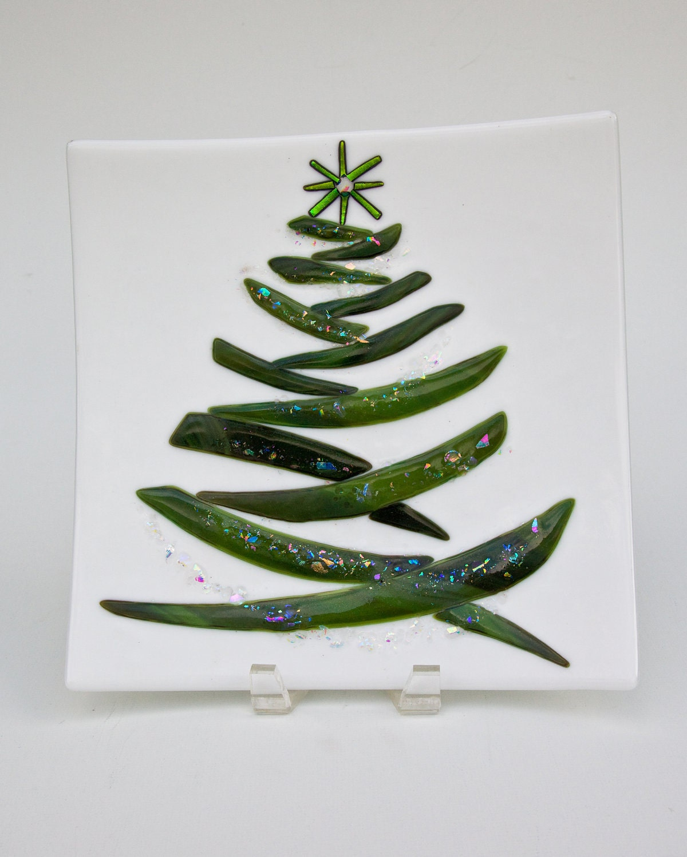 Christmas tree fused glass plate