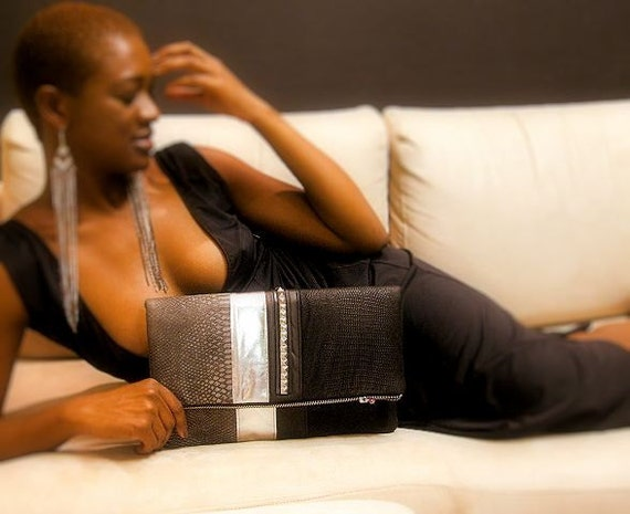 Black and Silver Leather Trim Clutch Bag - SAMPLE