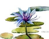Water lily and lily pads watercolor original art