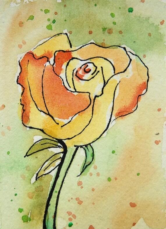ACEO Mini, Peace Rose, pale yellow, pale peach, Original Watercolor Painting, friend gift, rose art, flower art, floral