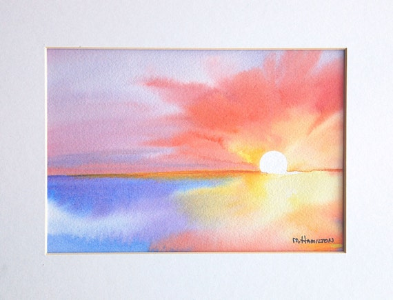 Abstract Sunrise Sunset Original Watercolor Painting