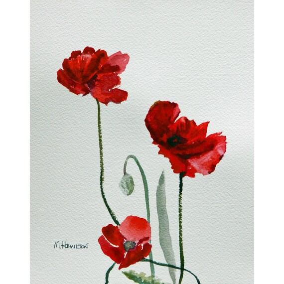 Red Poppy Painting Wall Art Poppy Art 9 X 7