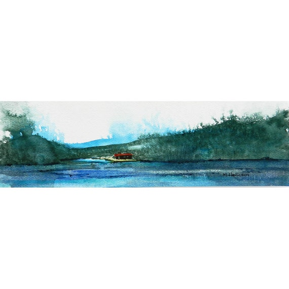 Wall Art, Abstract Art, Watercolor Landscape, Cabin, Lake, Escape, Father's Day, Mountain Lodge Decor, Woods, Original Artwork, Hand Painted