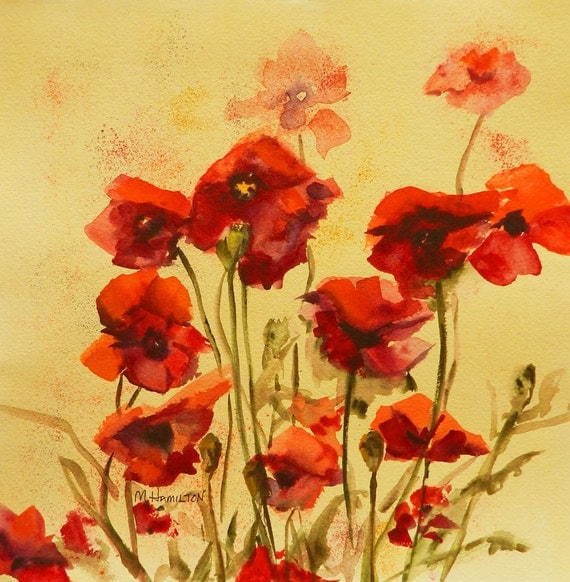 Home Decor, Abstract Watercolor Poppies, Floral, Red Orange, Gold, Wall Art, Poppy Artwork, Original Painting, Hand Painted, Poppy Lovers,