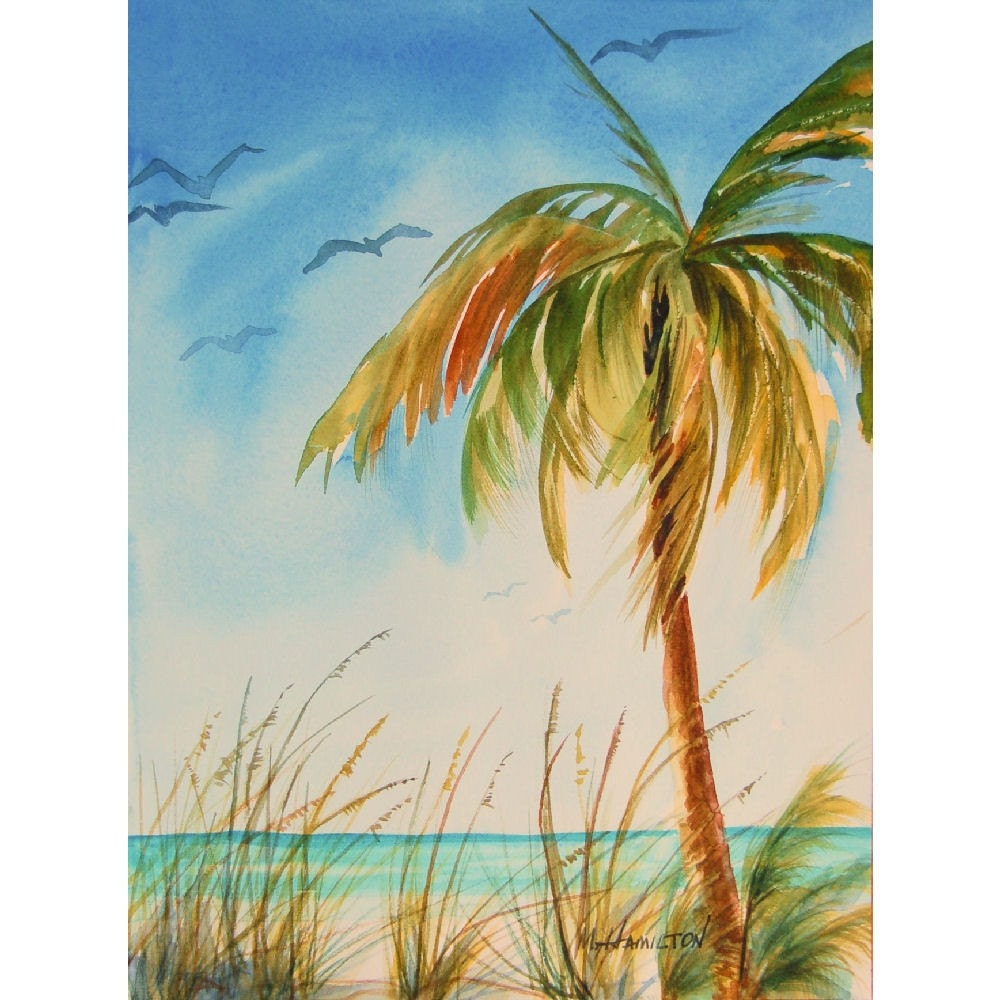 Palm Tree Island: Wall Art Tropical Island Palm Tree Art Seascape With Palm