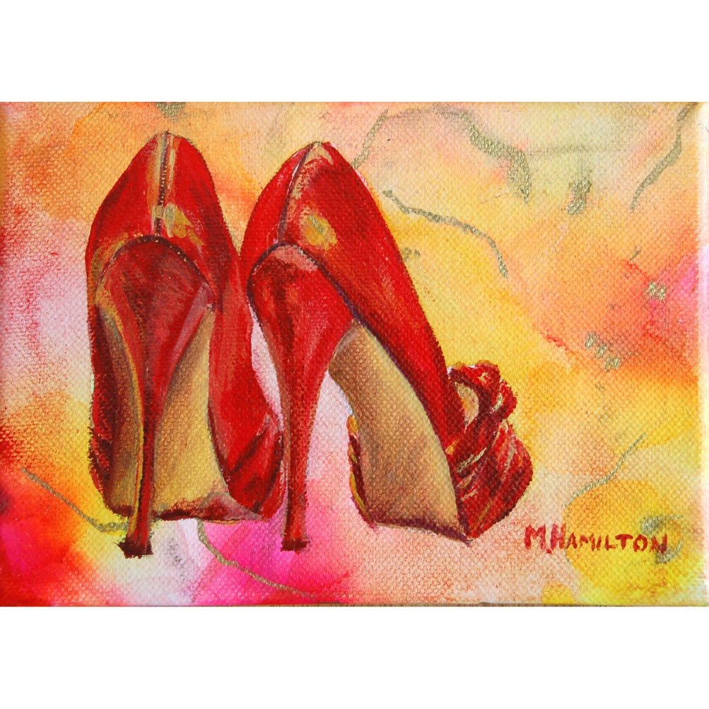 Red High Heels Art Print Fashion Shoe Art Red Shoes by DreamON