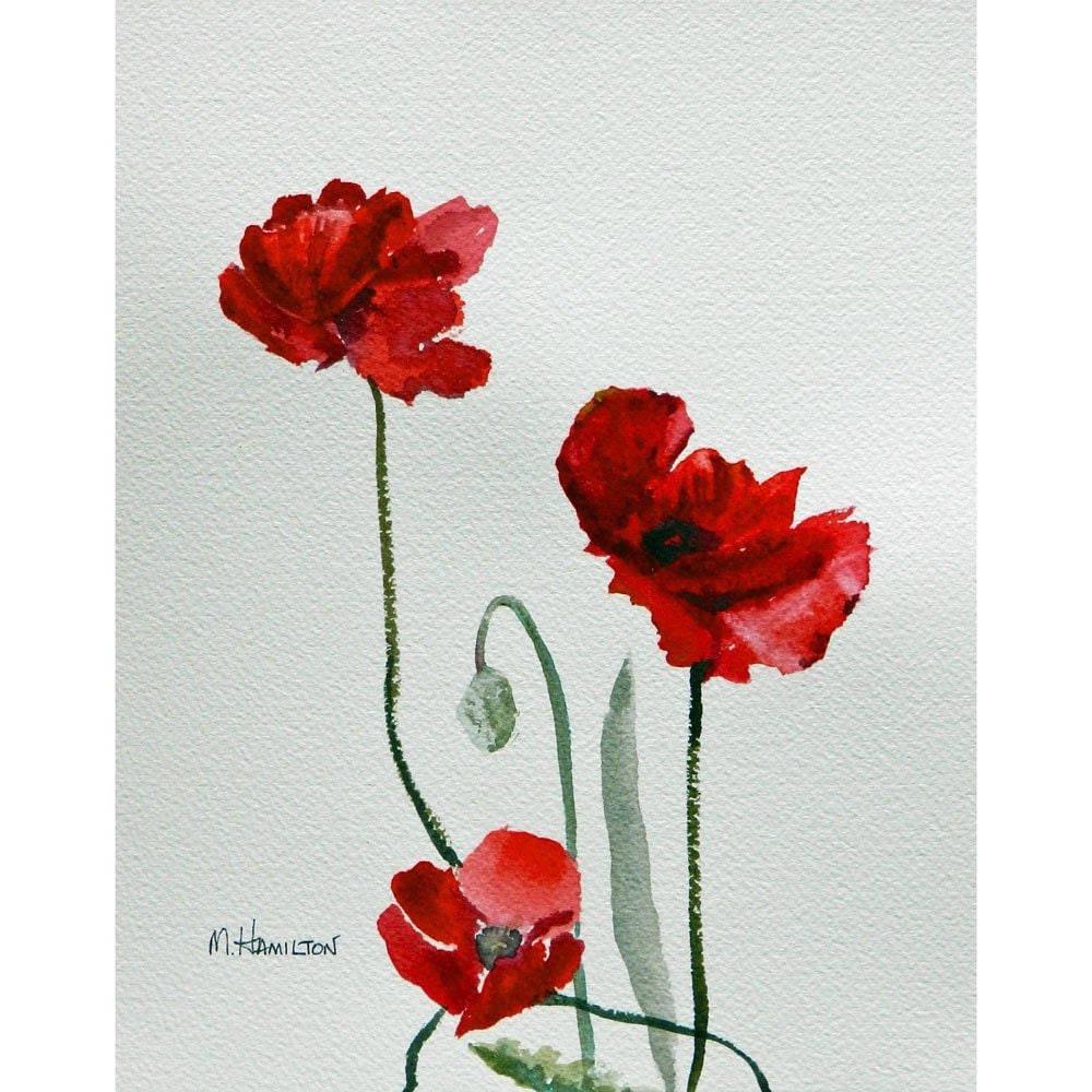 Red Poppy Wall Decor : Red poppy painting wall art