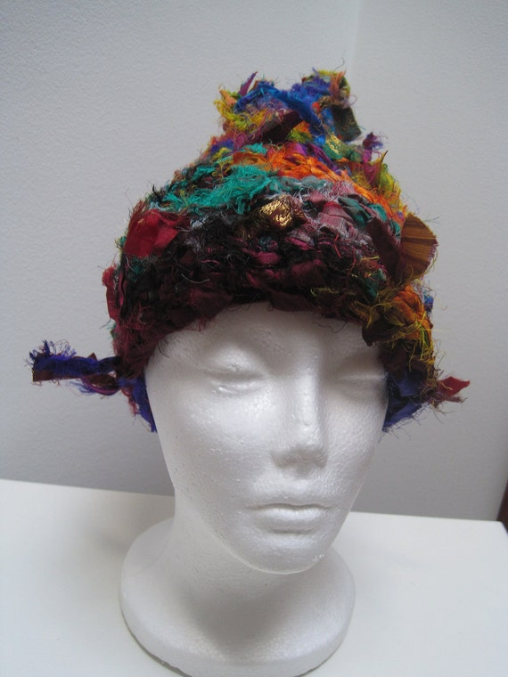 Free Crochet Pattern Multi Colored Hat : multi colored hat sari scrap crocheted pointed