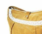 Soma -Gold yellow romantic corduroy bag