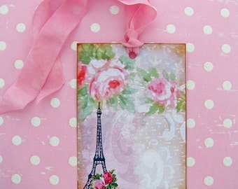 Shabby Romance French Eiffel Tower Rose Tags