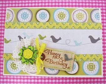 Birthday Card Birds on a Wire
