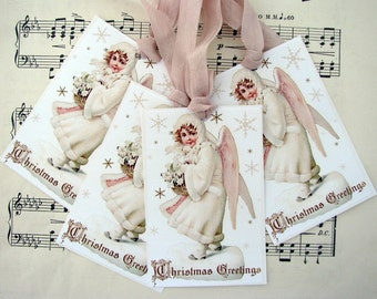 Victorian Angel Christmas Gift Tags
