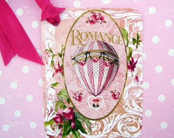 Romantic Pink Hot Air Balloon Gift Tags Series Four