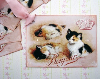 Shabby French Kitten Tags