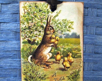 Shabby French Rabbit and Chicks Easter Gift Tags