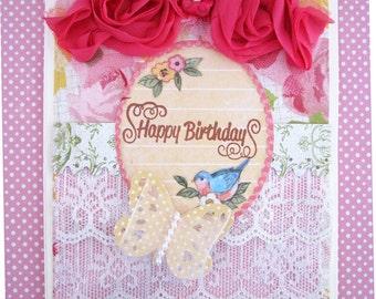 Birthday Card Shabby  Vintage Inspired Bird Card