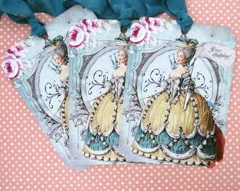 Shabby Marie Antoinette Vintage French Style Birthday Tags