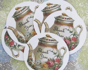 Teapot Thank You Stickers Vintage