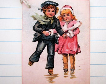 Vintage Children Skating Gift Tags