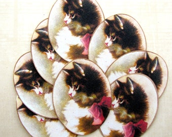 Vintage Shabby Victorian Cat Stickers