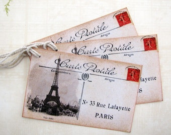 Eiffel Tower Postcard Tags