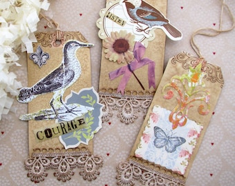 Nature Inspired Collaged Gift Tag Assortment