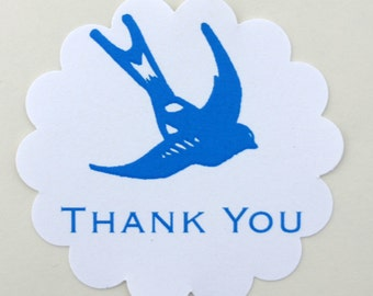 Vintage Blue Swallow Sticker Thank You Seals