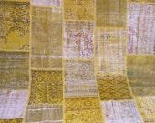 Sunshine Yellow Revitalized Vintage Patchwork Carpet