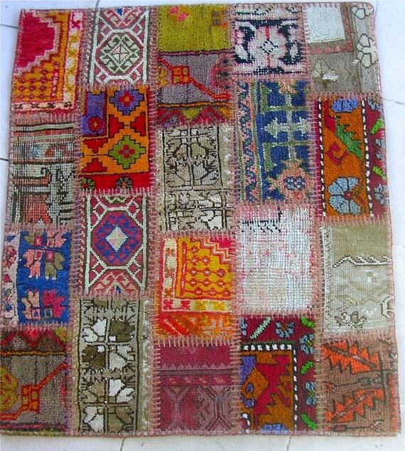 Small Multicolor Original Vintage Patchwork Carpet