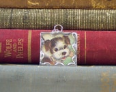 Scruffy Puppy with Bone - Soldered Glass Pendant with Vintage Illustration