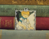 SALE Soldered Glass Pendant Girl with White Kitten with Vintage Illustration