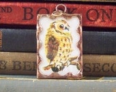 SALE - Copper Owl Pendant - Soldered Glass Charm with Vintage Book Ephemera - Owl Charm - Woodland Bird