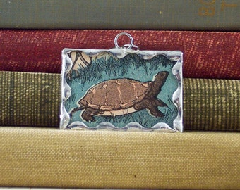 SALE Tortoise Turtle Charm - Soldered Glass Pendant - Slow and Sure Wins the Race - Vintage Book Charm - Tortoise Charm - Race Pendant