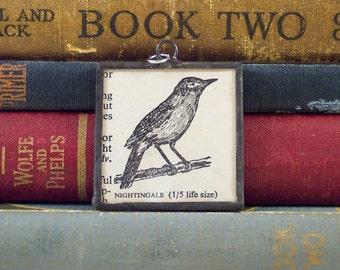 SALE - N is for Nightingale Soldered Glass Pendant - Vintage Dictionary Pendant - Paper Ephemera Charm - Monogram N -  Nurse Gift
