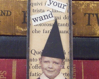 Boy Wizard Pendant - Halloween Jewelry - Collage Charm - Soldered Glass Microscope Slide Pendant - Mixed Media Necklace - Magic Wand Charm