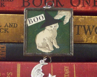 Witch Cat Pendant - Halloween Charm - Collage Art Charm - Solder Glass Pendant - Mixed Media Pendant - Halloween Jewelry - Witch Charm