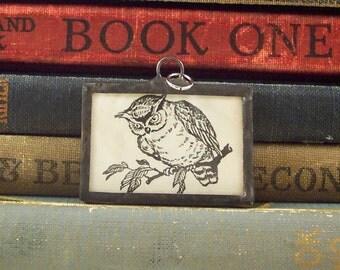 Owl Pendant w/ Antique Book Illustration - Soldered Glass Owl Charm - Book Lovers Pendant - Librarian Teacher Gift - Literary Pendant