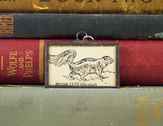 SALE Soldered Glass Pendant S is for Skunk with Vintage Dictionary Illustration