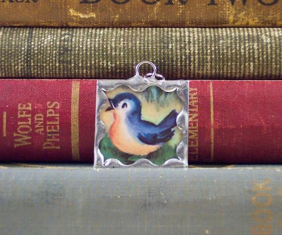 Blue Bird of Happiness - Vintage Illustration Soldered Glass Art Pendant