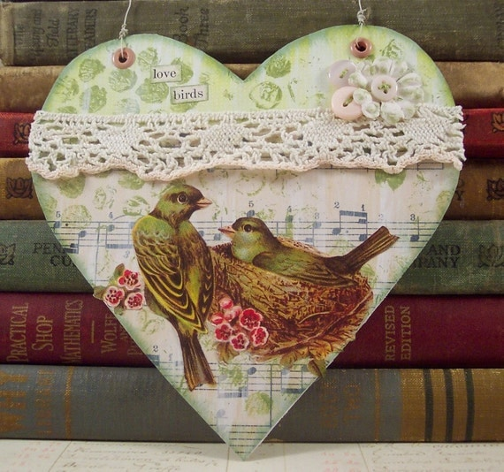 Love Birds Collage Art Mixed Media Hanger
