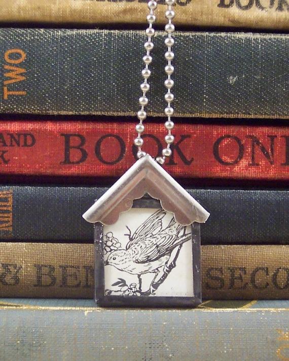 Bird House Mixed Media Charm Necklace