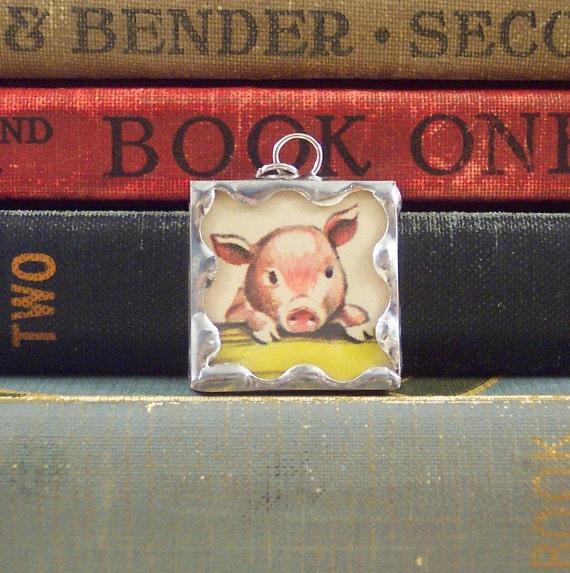 Soldered Glass Pendant Charm Pink Pig with Vintage Illustration