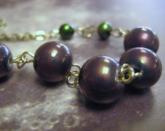 Beaded Chain Necklace and Earrings Set with Purple Beads and Green Pearls