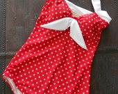The Bella ..  Red and White Polka dot one piece Maillot Swimsuit Made to order
