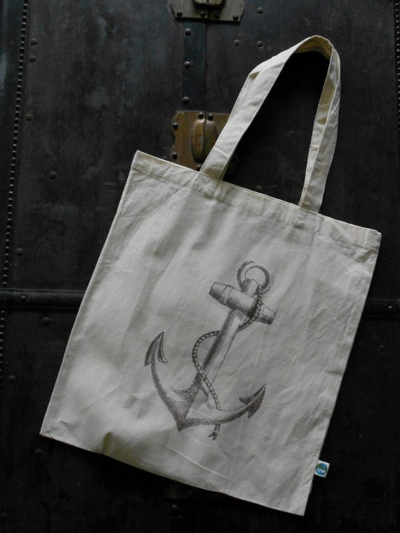 Retro distressed anchor print eco freindly reusable tote beach bag