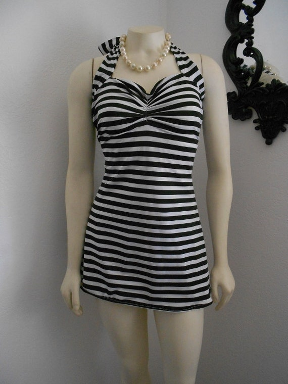 Black and White Stripe Two Piece swim dress retro pin-up swimsuit Made to order