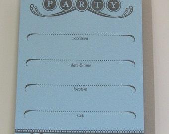 Letterpress Boxed Party Invitations (Blue)