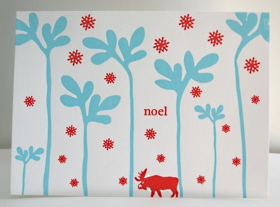 Letterpress Moose Holiday Cards